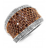 14k Gold 2ct Champagne White Diamond Cluster Band Ring