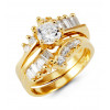 14k Yellow Gold Band Baguette Round CZ Wedding Ring Set