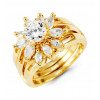 14k Yellow Gold Marquise Round CZ Bride Wedding Rings