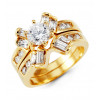 14k Yellow Gold Engagement Round Baguette CZ Ring Set